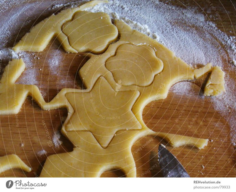 Christmas & Advent Joy Winter To enjoy Heart Cooking & Baking Sweet Delicious Baked goods Dough Raw Cookie Flour Pierce cookie cutter cut out cookies