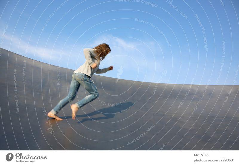 Human being Sky Summer Girl Joy Wall (building) Movement Feminine Wall (barrier) Metal Leisure and hobbies Lifestyle Power Walking Speed Beautiful weather