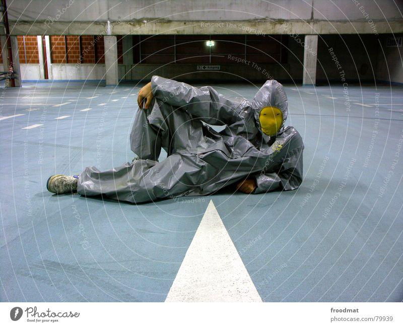 Blue Joy Yellow Gray Art Funny Crazy Mask Point Arrow Suit Stupid Surrealism Parking garage Tracks Rubber