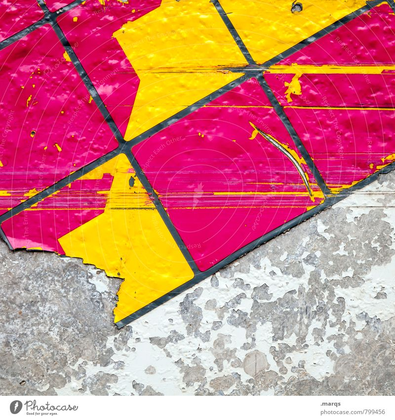 outline Style Design Wall (barrier) Wall (building) Plastic Line Mosaic Cool (slang) Hip & trendy Uniqueness Broken Yellow Gray Pink Colour Decline Scratch mark