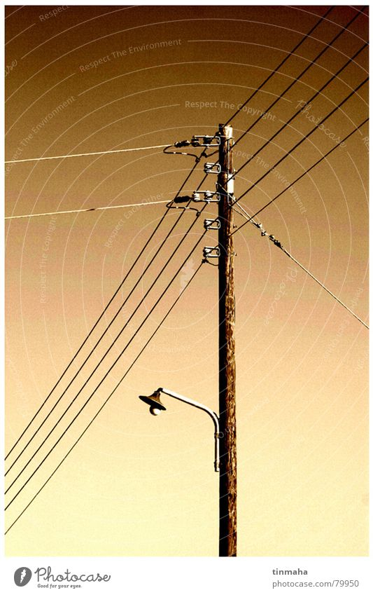 Sky Lamp Freedom Brown Electricity Technology Industrial Photography Cable Electricity pylon Street lighting Branched Electrical equipment