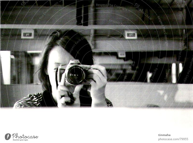 self-portrait Take a photo Railroad Mirror Mirror image Leisure and hobbies Self portrait take a picture xerox Train compartment Black & white photo go by train