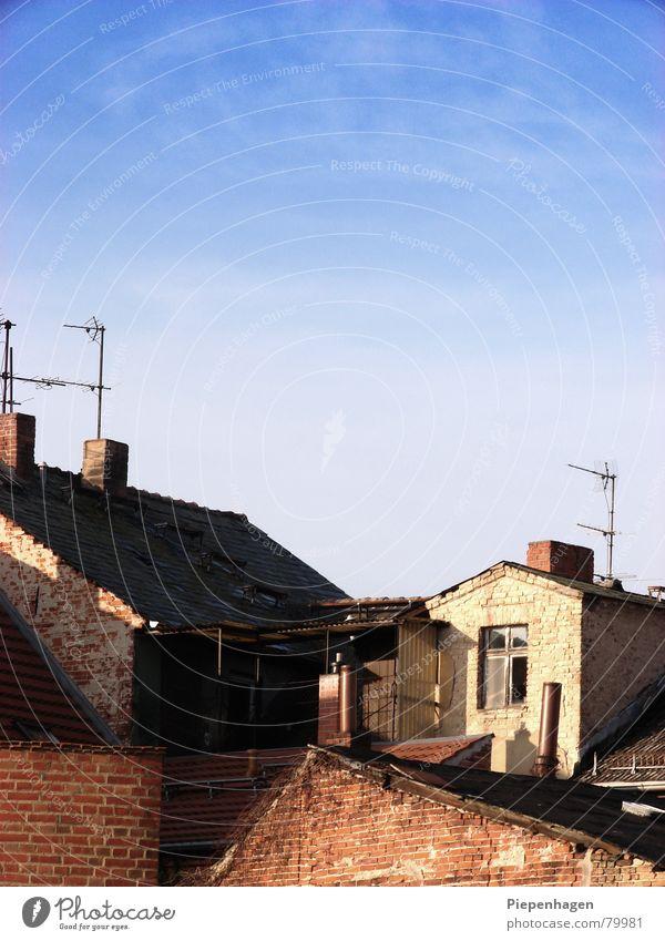 Sky Blue City House (Residential Structure) Clouds Autumn Horizon Brandenburg Roof Village Brick Chimney Antenna Azure blue Neuruppin