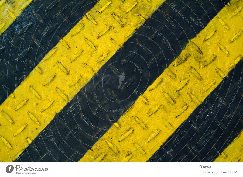 Black Yellow Metal Industry Floor covering Steel Diagonal Tin Striped Scrap metal Across Paintwork Burl Junk goods Slippery surface