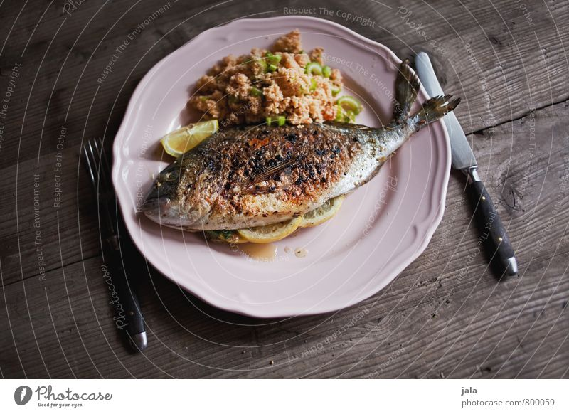 dorade with tabouleh Food Fish Vegetable Grain Dorade Nutrition Lunch Slow food Crockery Plate Cutlery Knives Fork Fresh Healthy Delicious Natural Wooden table