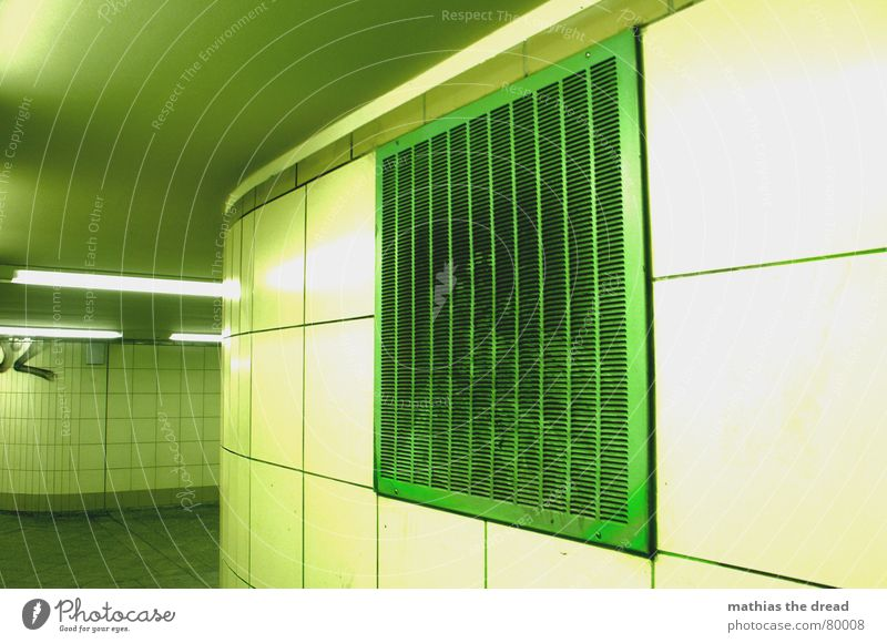 emergency exit Slit Room Ventilation shaft Wall (building) Green Grating Covers (Construction) Lamp Tunnel Detail Corridor neon-luminous glowing inward Blanket