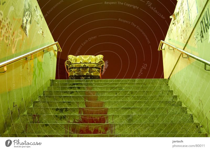 on a wrong track (crosswise) Under Hannover Armchair Red Green Threat Dangerous Go up Furniture Living room Might Stairs Blood Lime tree