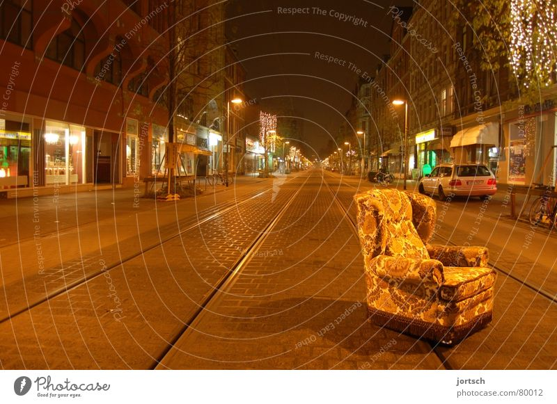 Calm Loneliness Street Sleep Empty Furniture Traffic infrastructure Armchair Hannover Lime tree Slumber Encampment