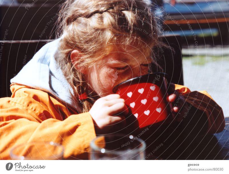 Child Red Girl Hair and hairstyles Orange Blonde Fresh Drinking Refreshment Thirst Mug Beverage Food Thirsty