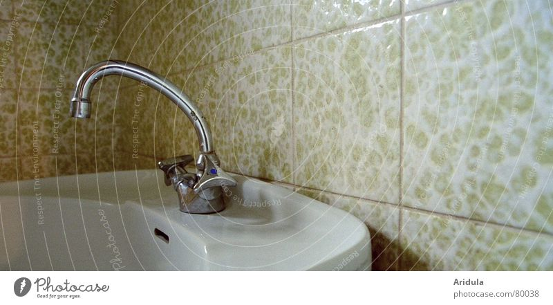 Water Old Calm Loneliness Cold Bathroom Hot Toilet Tile Derelict Personal hygiene Seam Tap Sink Redevelop Chrome