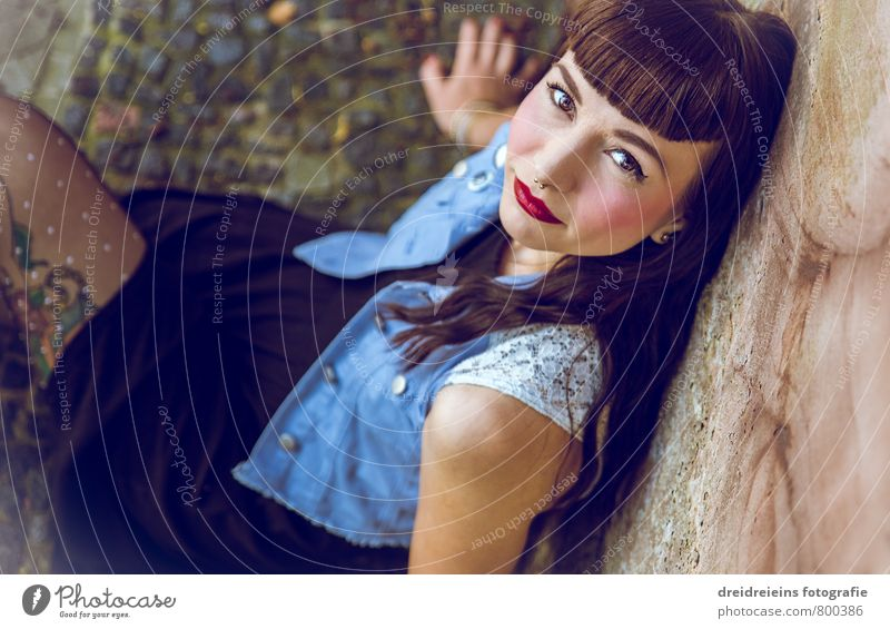 The beauty on the ground Feminine Young woman Youth (Young adults) Woman Adults 1 Human being Wall (barrier) Wall (building) Dress Looking Sit Dream