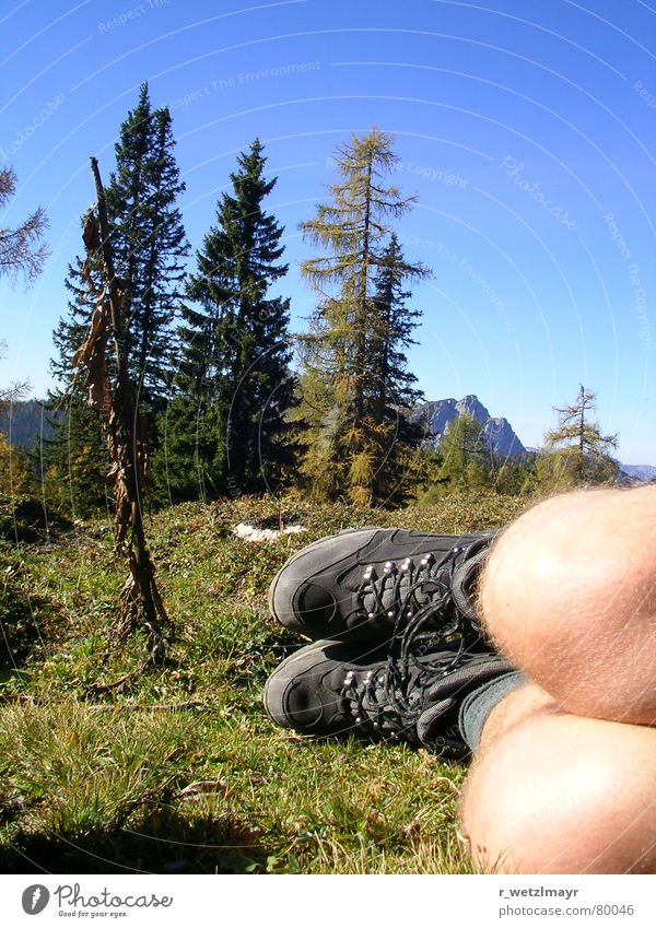Hiking and mountaineering: These boots... Colour photo Exterior shot Copy Space top Day Worm's-eye view Leisure and hobbies Vacation & Travel Tourism Trip