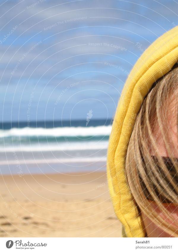 Blue Ocean Summer Beach Clouds Face Yellow Coast Sand Head Waves Blonde Leisure and hobbies Sunglasses Australia Partially visible