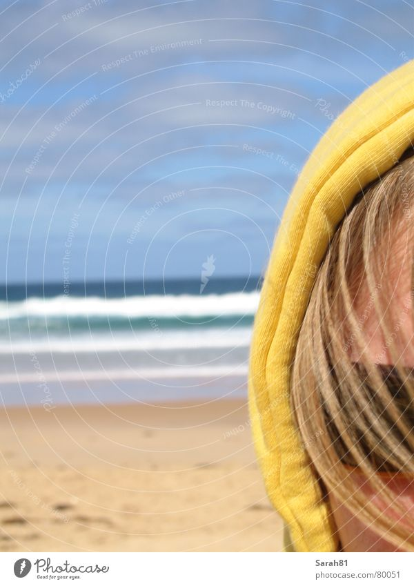 Blue Ocean Summer Beach Clouds Face Yellow Coast Sand Head Waves Blonde Leisure and hobbies Sunglasses Australia Partially visible