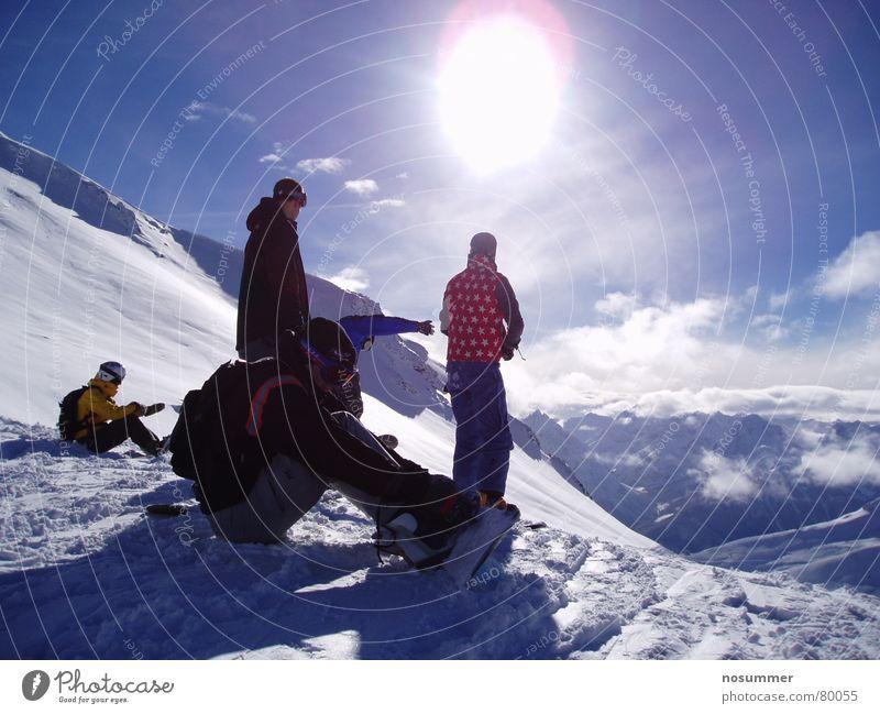 Snowboard Freeride Silvretta Deep snow Moody Switzerland Austria Clouds Winter sports off-piste backcountry silvretta sports girl Mountain Landscape Sky Sun
