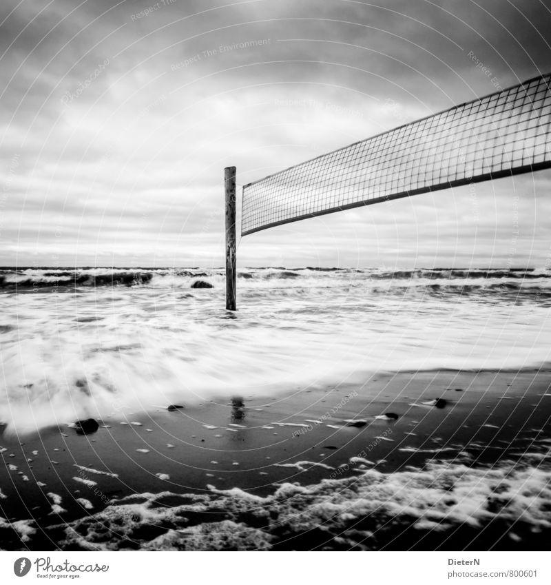 final Beach Ocean Landscape Sand Water Clouds Horizon Wind Gale Baltic Sea Gray Black White Kühlungsborn Mecklenburg-Western Pomerania Volleyball (sport) Net