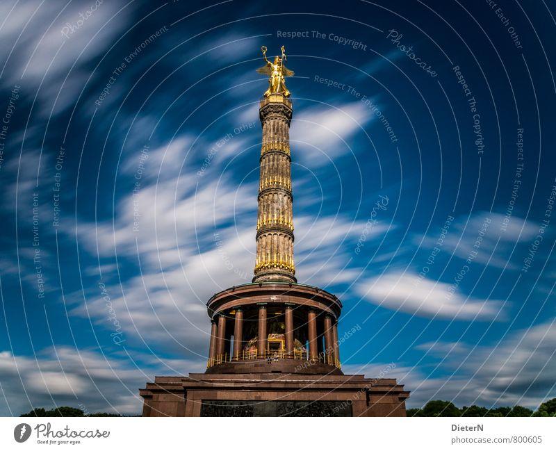 else Sculpture Architecture Berlin Town Capital city Places Tourist Attraction Landmark Blue Gold White Goldelse victory statue Colour photo Multicoloured