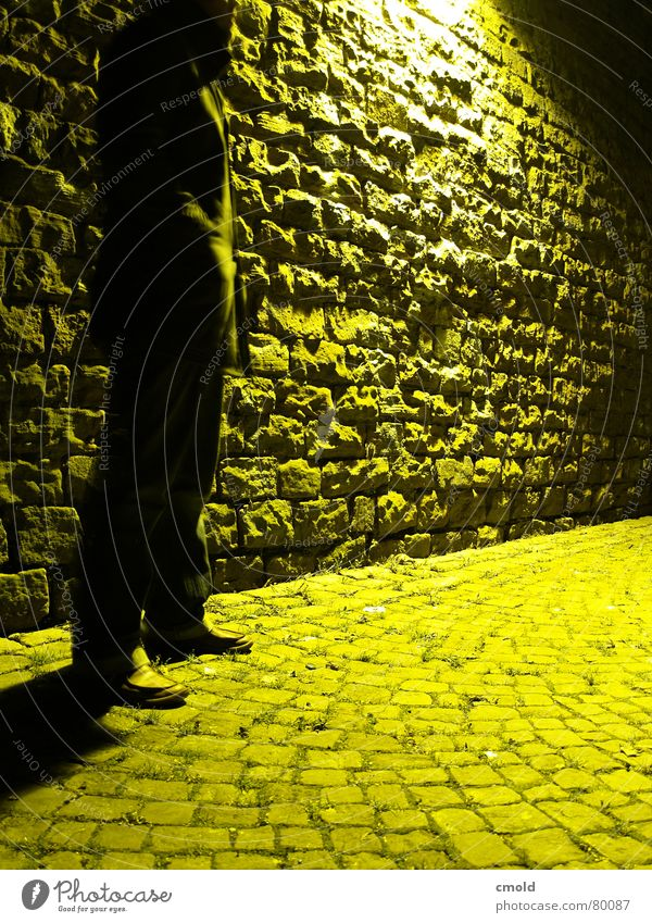 Man Old City Yellow Lamp Dark Stone Wall (barrier) Bright Dangerous Mysterious Mannheim Meeting point Handover