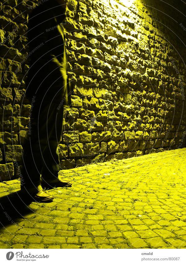 Yellow Night Handover Man Wall (barrier) Light Lamp Mysterious Dangerous Dark Meeting point Mannheim Long exposure Old Stone Bright Town