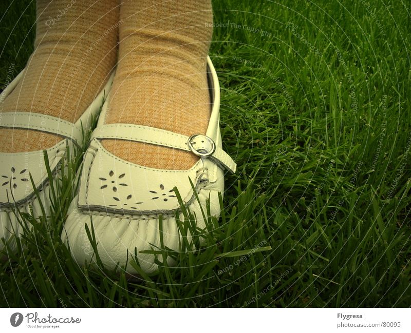 I can do magic and I have a hole in my sock. Stockings Young lady Moccasin Footwear Grass Stand Yellow Meadow Madame Stay Green Green space Spring Nature Feet