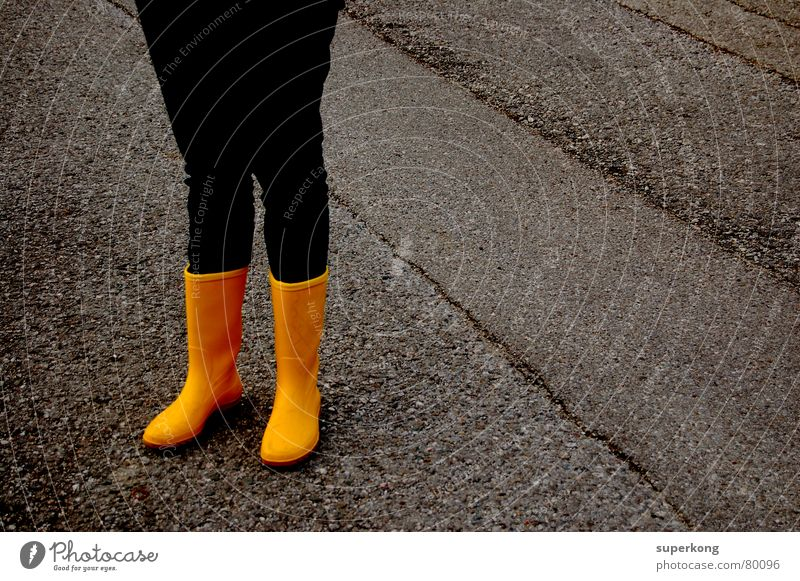 015 Rubber boots Yellow Concrete Winter Autumn Wet Early fall Rain Pavement Freeway Damp yellow boots Blue Street jean Canopy humid arterial road