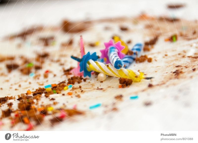 Subsequently ;-) Happy birthday! Candy Birthday cake Granules Party Feasts & Celebrations Eating Candle Colour photo Multicoloured Interior shot Detail