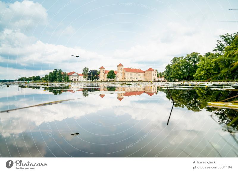 still wind Architecture Nature Pond Lake Small Town Old town Castle Tourist Attraction Idyll Clarity Reflection Card Colour photo Exterior shot Deserted