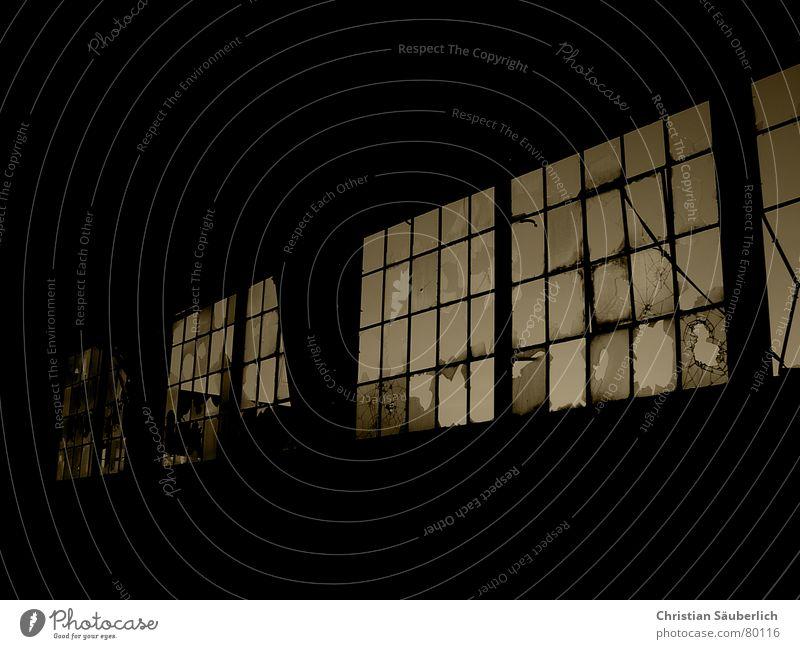 Broken Warehouse Window Brown Derelict sephia Glass Window pane