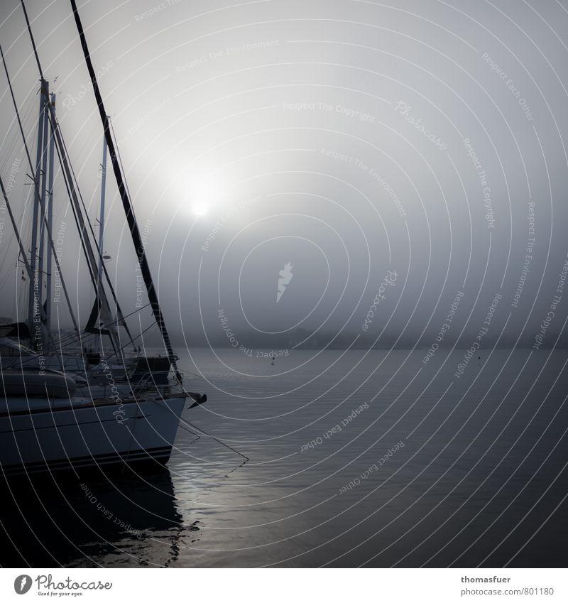 greyish Beach Ocean Island Sailing Sailboat Air Water Sky Clouds Horizon Sunrise Sunset Fog Coast Sport boats Yacht Yacht harbour Anchor To enjoy Wait Dark