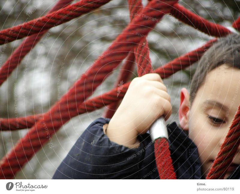Child Hand Red Joy Loneliness Cold Playing Boy (child) Gray Metal Power Masculine Trip Rope Force Perspective