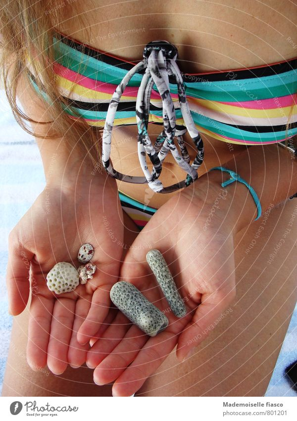 From the sea Summer vacation Beach Feminine Young woman Youth (Young adults) Skin Hand 1 Human being 18 - 30 years Adults Bikini Stone Multicoloured Esthetic