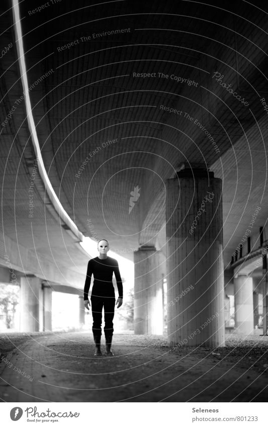 He's coming Human being Masculine Man Adults 1 Street Bridge Mask Stand Creepy Emotions Fear Dangerous Bridge pier Line Black & white photo Exterior shot