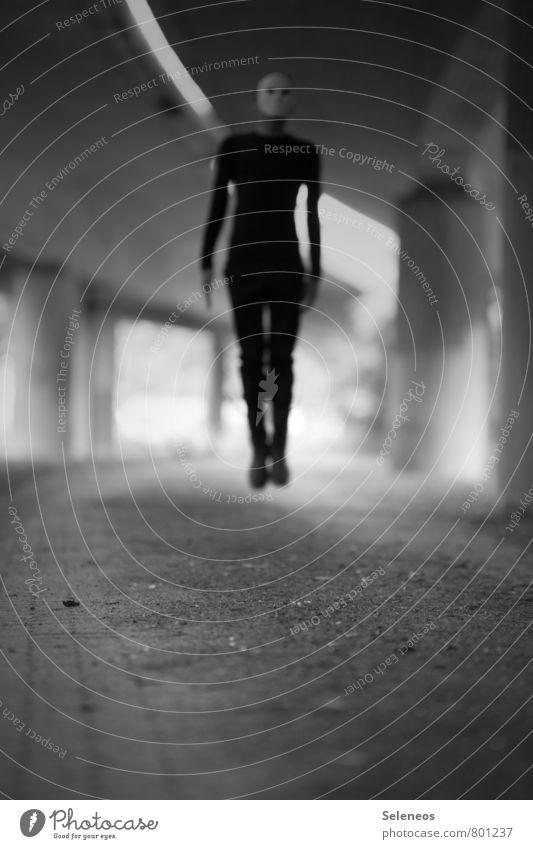 L Hallowe'en Human being Masculine Man Adults 1 Overpass Tunnel Bridge Jump Creepy Black Fear Dangerous Black & white photo Exterior shot Copy Space bottom Blur