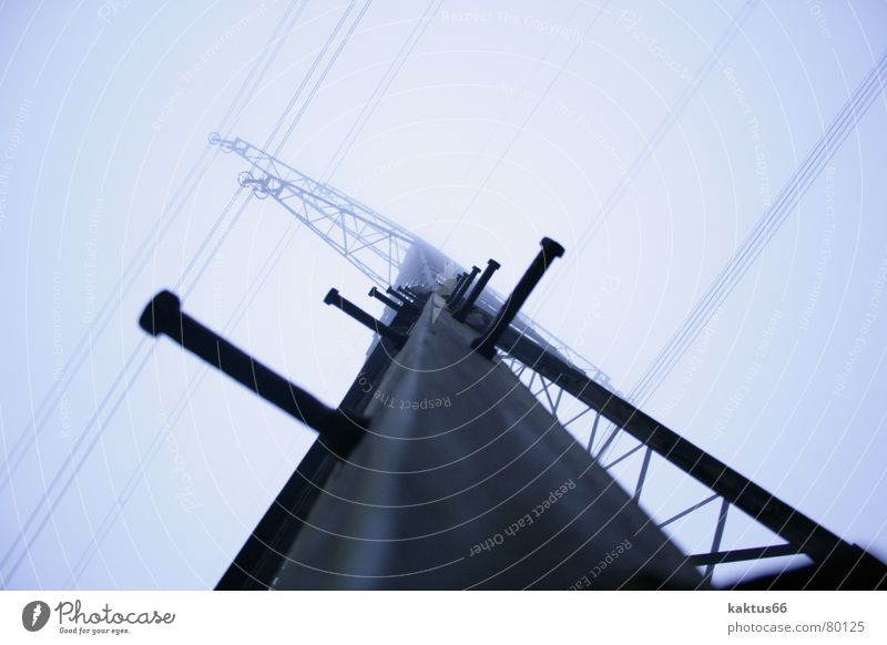 Sky Dark Bright Fog Large Tall Industry Energy industry Electricity Gloomy Technology Communicate Cable Climbing Strong