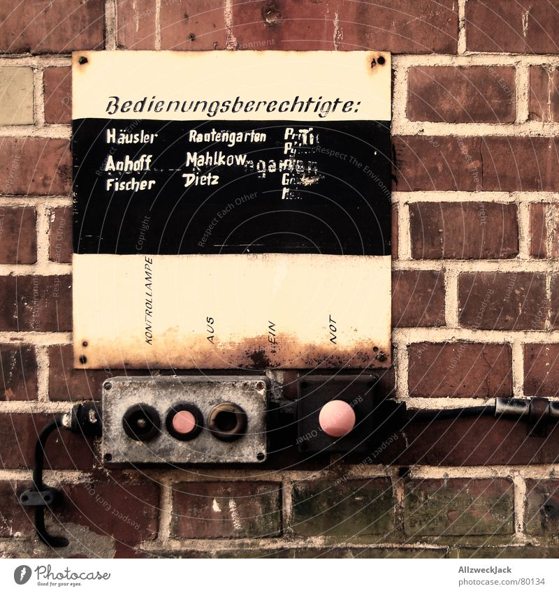 Wall (building) Wall (barrier) Signs and labeling Might Technology Control device Derelict Brick Blackboard Buttons Chalk Switch Key Responsibility Switch off