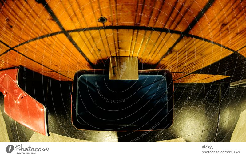 Blue Dark Orange Bench Trash Tile Station Underground Cologne Trashy Train station Shabby Seating London Underground Tram Trash container