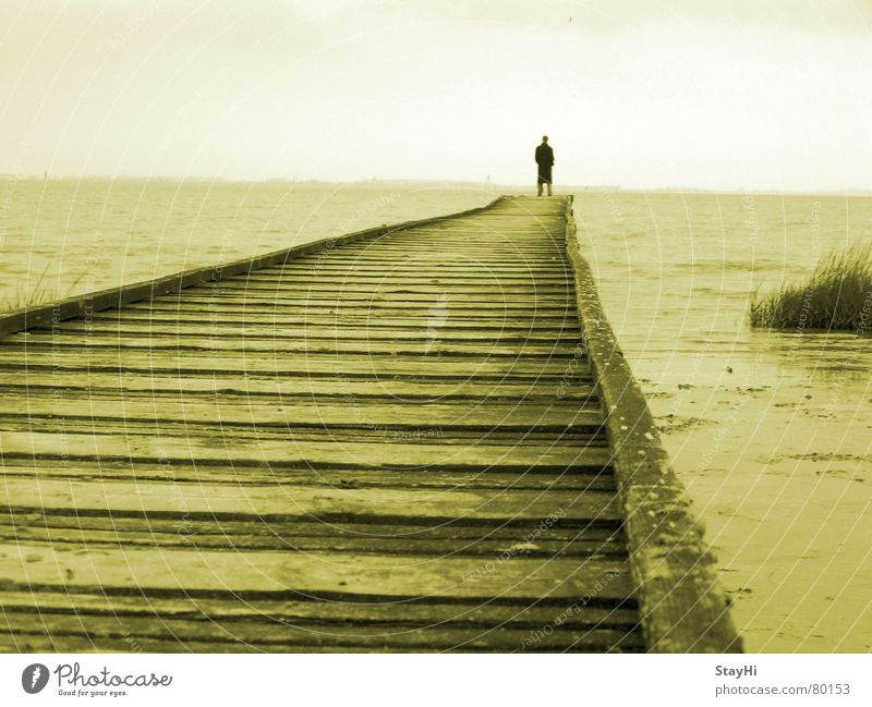 Human being Man Ocean Beach Clouds Loneliness Far-off places Freedom Lake Coast Horizon Romance Vantage point Target Footbridge Remote