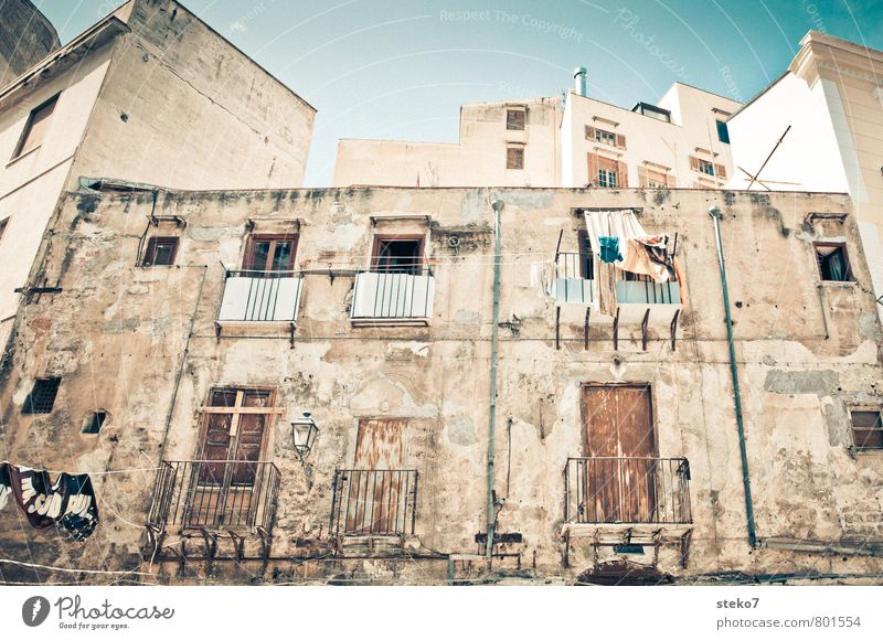 Sicilian Laundry Palermo Italy Town Facade Balcony Window Decline Growth Living or residing Clothesline Betray Sicily Subdued colour Exterior shot Deserted