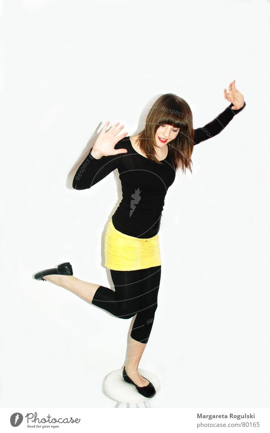 Woman Joy Black Laughter Legs Chair Lady Balance Stool