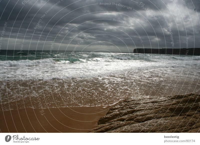 Water Sky Sun Ocean Beach Vacation & Travel Clouds Sand Waves Europe Algarve Portugal Lagos
