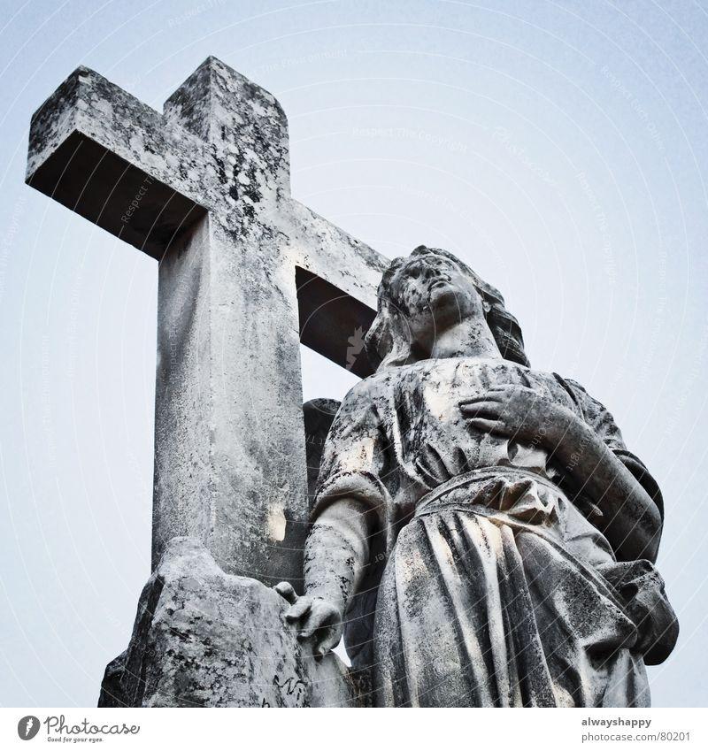 Sky Calm Death Dark Gray Stone Religion and faith Back Hope Angel Grief End Derelict Prayer Distress Goodbye