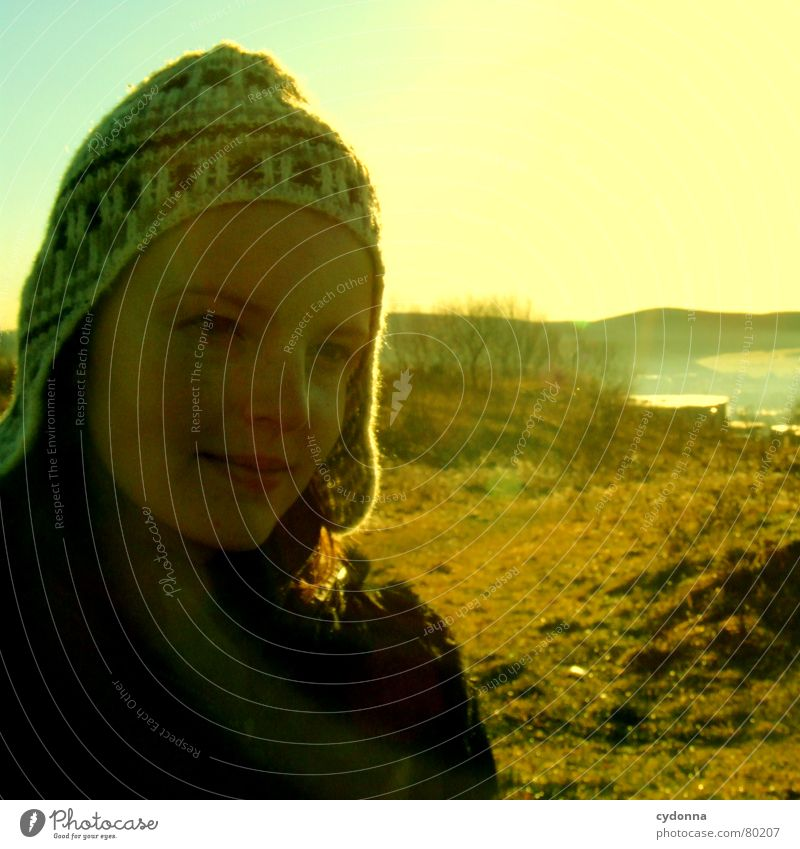 Woman Nature Sky Sun Green Winter Face Cold Meadow Moody Lighting Perspective Action To go for a walk Climate Idyll