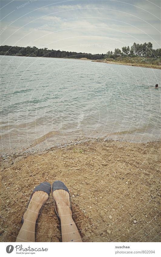 Human being Sky Nature Water Summer Landscape Beach Environment Feminine Swimming & Bathing Sand Lake Legs Feet Horizon Air
