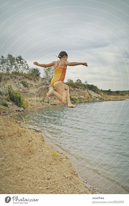 jump into the lake Child Girl Infancy Body Skin Head Arm Legs Feet 1 Human being 8 - 13 years Environment Nature Landscape Sand Water Sky Clouds Summer Coast