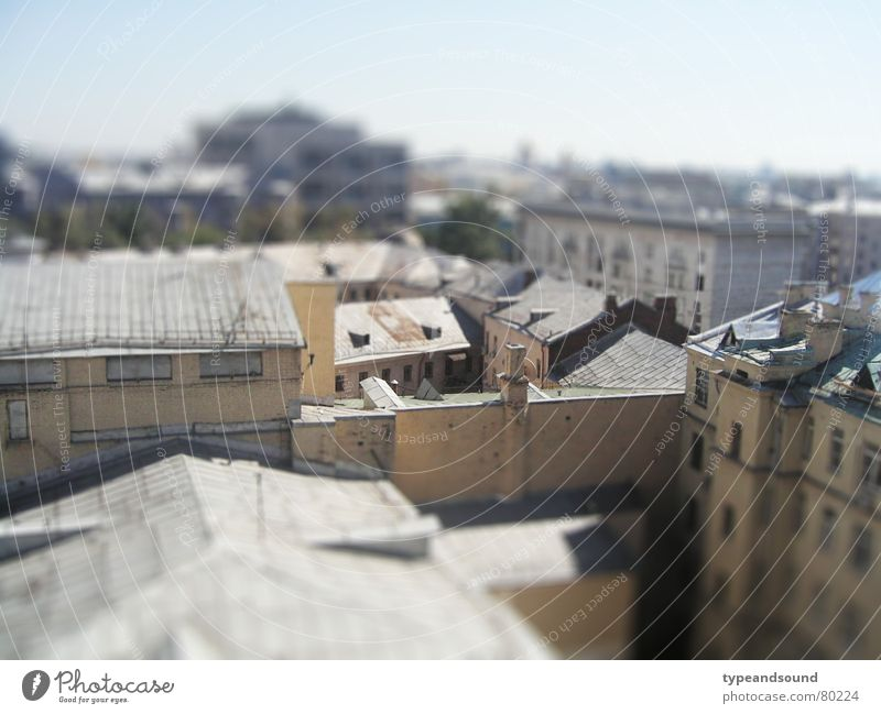 City House (Residential Structure) Gray Roof Beautiful weather Surrealism Russia Quarter Backyard Capital city Gorgeous Miniature Moscow Tilt-Shift Ochre