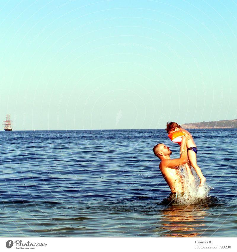 Sky Man Water Vacation & Travel Summer Ocean Joy Relaxation Boy (child) Happy Family & Relations Horizon Watercraft Swimming & Bathing Waves Trip
