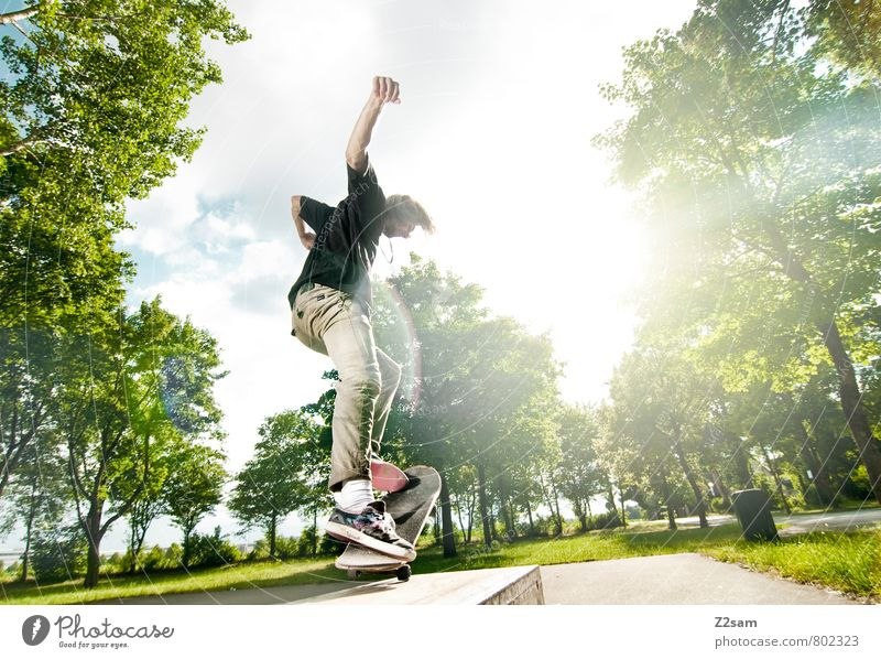 Flip it Lifestyle Elegant Style Summer Skateboarding Funsport Young man Youth (Young adults) 18 - 30 years Adults Sky Clouds Beautiful weather Tree Bushes