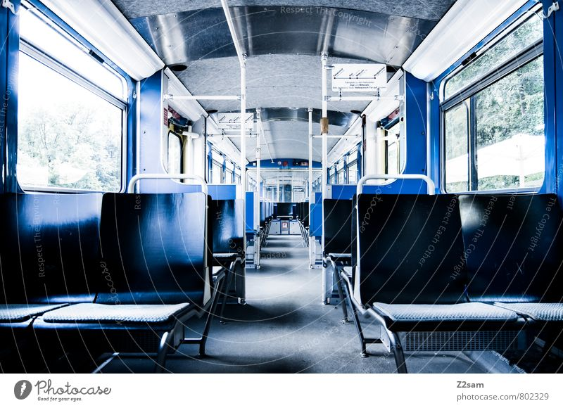 free choice of seats Means of transport Train travel Rail transport Mono rail Tram Sharp-edged Simple Cold Modern Clean Town Blue Esthetic Design Arrangement