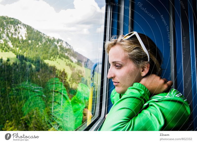 Good prospects! Vacation & Travel Tourism Trip Freedom Summer vacation Mountain Hiking Feminine Young woman Youth (Young adults) 18 - 30 years Adults Nature