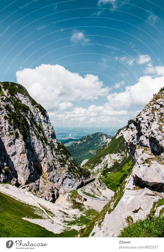 Wendelstein Environment Nature Landscape Sky Clouds Summer Beautiful weather Meadow Rock Alps Mountain Peak Far-off places Gigantic Tall Sustainability Natural